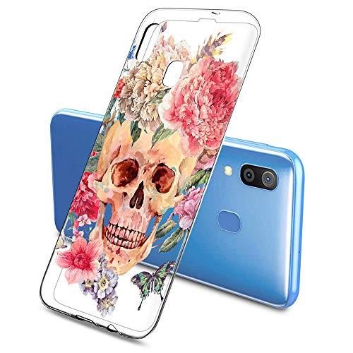 Oihxse Cristal Funda Compatible con Samsung Galaxy M31 Silicona Estuche TPU Suave Flexible Transparente Carcasa Calavera Rosa Flores Patrón Anti Rasguños Protector Caso(E2)