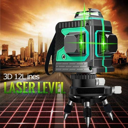 Kreuzlinienlaser 25M, Careslong 3 x 360 grüner Laserpegel selbstausgleichende, grüner Strahl 3D 12 Linien, IP 54 Selbstnivellierende Vertikale und Horizontale Linie (inklusive 2pcs Batterie) - 3