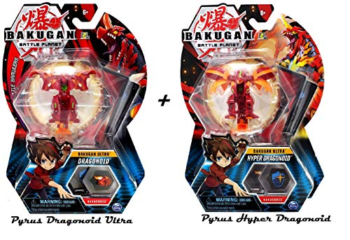 Bakugan Ultra Pyrus Dragonoid Plus Pyrus Hyper Dragonoid Bundle, 3-inch Tall Collectible Transforming Creature, for Ages 6 and Up