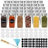 CUCUMI 30pcs 4oz Glass Spice Jars Square Glass Bottles with 30pcs Shaker Lids 1pcs Silicone Collapsible Funnel 200pcs Blank Round Waterproof Labels 1pcs Test Tube Brush