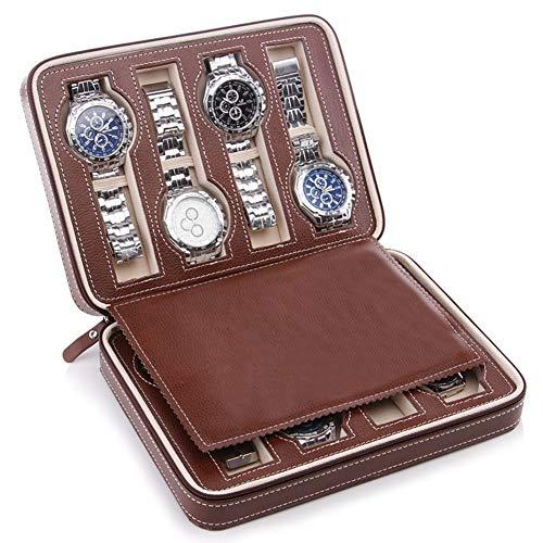 ZHAYEUK Leder Uhrenbox/Uhrkastenkasten 8 Uhren Einzel for Männer Damen, Reisen Leder Uhrenkoffer Uhrenkasten Uhrenaufbewahrung for den Ehemann, (Farbe: Wein, 24 x 18,5 x 6 cm)