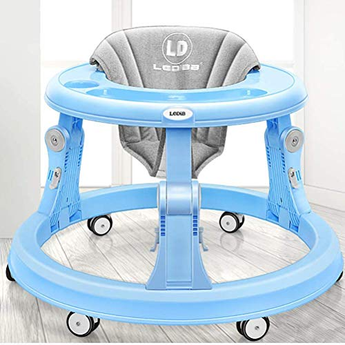 Olz Adjustable Height Baby Walkers and Activity Center for Boys and Girls with Big Clean Tray and 6 Mute Rubber Multi-Directional Wheels, Anti-Rollover Folding Toddler Walker for Baby 6-18Months,Blue