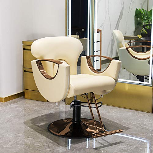 Fantastic Deal! Swivel Hair Salon Rotate Lift Beauty Stools, 360 Degrees Rolling – Height Adjustable Nail Embroidery Chairs, with High Elastic Sponge Retro Bronze Barber Chair,Beige,1352565cm