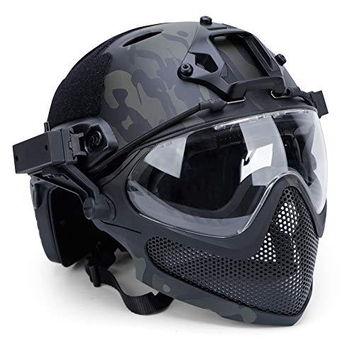 Winer Outdoor Casco tattico Airsoft PJ Integrato F22, Casco Protettivo Integrale con Maschera Rimovibile e Occhiali.