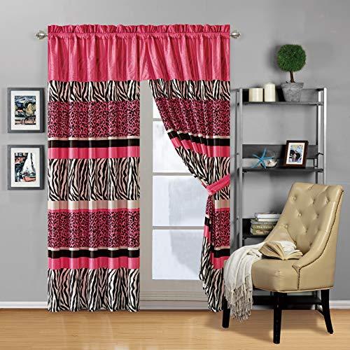 Modern 4 - Piece Hot Pink Black Animal Print Safari Curtain Set, Leopard, Zebra, Velvet Drapes/Window Panels 116' Wide X 84' Tall