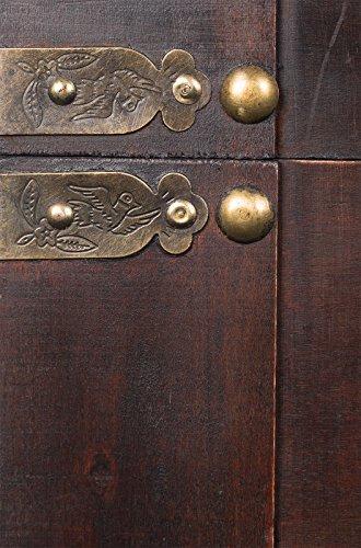 Holztruhe, Schatzkiste, Piratenkiste, mit Metallbeschlägen, Kolonialtruhe, mit Ornamenten und Lederriemen, 60x35x38cm - 3