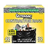 Ultrasac Extra Heavy Duty Contractor Bags - 42 gallons 4 Mil (32 Pack w/Ties) - 33