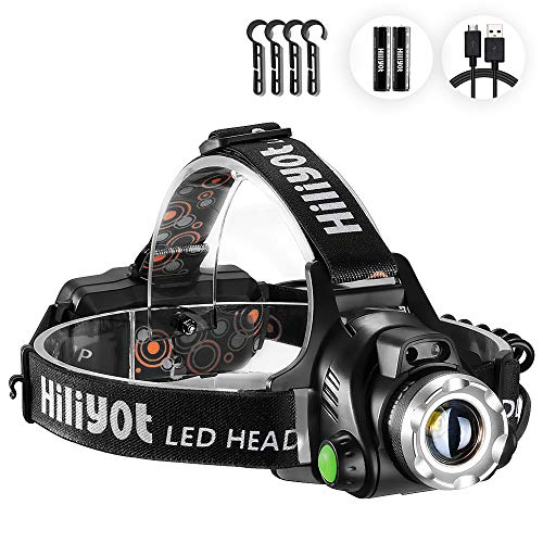 Hiliyot LEDヘッドライト 800ルーメン 高輝度CREE T6 ヘルメットライト USB充電式 センサー 角度調整可 作業 防災 夜釣り IPX4防水