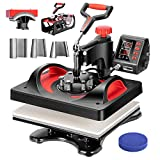 VIVOHOME Upgraded 8 in 1 Combo Multifunctional Swing Away Clamshell Printing Sublimation Heat Press Transfer Machine for T-Shirt Hat Cap Mug Plate 15 x 12 Inch ETL Listed Red & Black