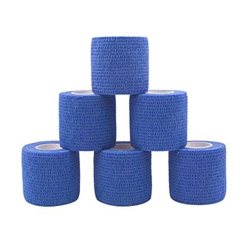 COMOmed Bendaggio Coesivo Benda Adesiva Rotolo Flessibile Fascia In Tessuto non tessuto coesa 5 cm, confezione da 6, blu