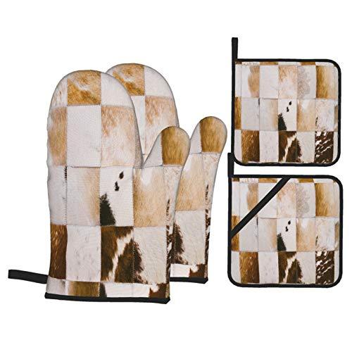 Juego de 4 Guantes y Porta ollas para Horno Resistentes al Calor Pelo de Cuero de Vaca Cosido artesanalmente Argentino Cerca para Hornear en la Cocina,microondas,Barbacoa