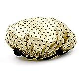 Vococal - Cappello di Doccia di Fascia Elastica Impermeabile Doppio Strato/Tappo Cuffia da Bagno Capelli EVA Polka Dot Pattern per Donne,Chiaro Marrone