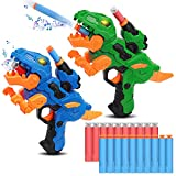 2 Pack Dinosaur Electric Blaster Guns Toys Boys Transforming Dinosaur Toys Shooting Toys Games with 60 Soft Foam Bullets 3 Targets Gift for Kid Ages 4 5 6 7 8+ Years Old, Compatible with Nerf