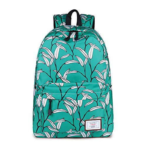 Lightweight Backpack 15.6 Inch for Girls,Teens Fashion Floral Anmials/Plants/Fruits print College Student Cute School Backpack with Padded Laptop Sleeve (A063 Green Bud)