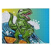 500ピース ジグソーパズル 恐竜サーファー パズル 木製パズル 動物 風景 絵 ピクチュアパズル Puzzle 52.2x38.5cm