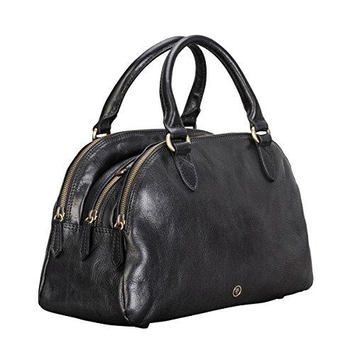 Maxwell-Scott Hochwertige Damen Leder Bowling Bag Handtasche LilianaS in Schwarz