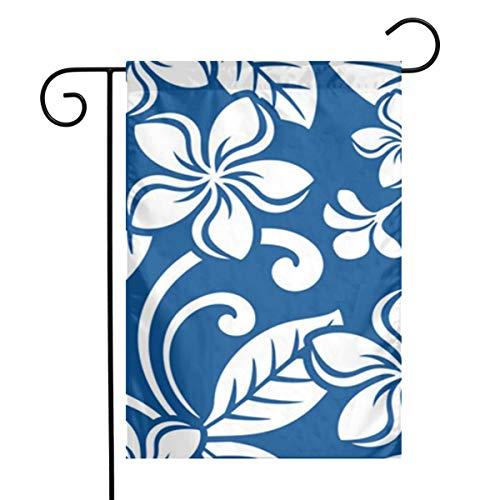 GDjiuzhang Garden Flags 12x18 Inch,Outdoor Decorative Yard Flags,One-Sided House Flag Blue Hawaiian Island Plumeria Pattern Flower Hawaii Floral Frangipani