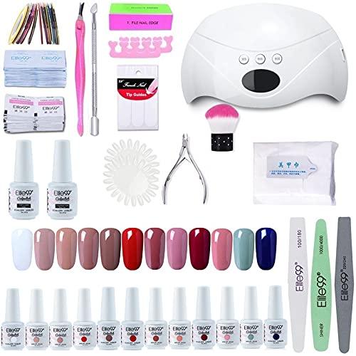 Elite99 Lámpara UV LED para Uñas 24w, 12 Colores Kit de Esmaltes Semipermanentes en Gel UV LED, Base y Top Coat, Removedor de Uñas 002