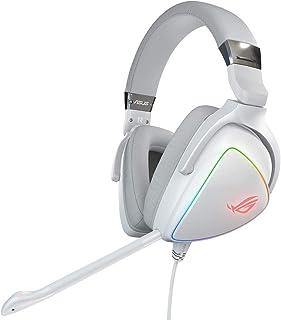 Asus ROG Delta White Edition - Auriculares de Gaming (Hi-Res ESS Quad-DAC,iluminación RGB Circular y Conector USB-C para PC, Consolas y Gaming móvil)