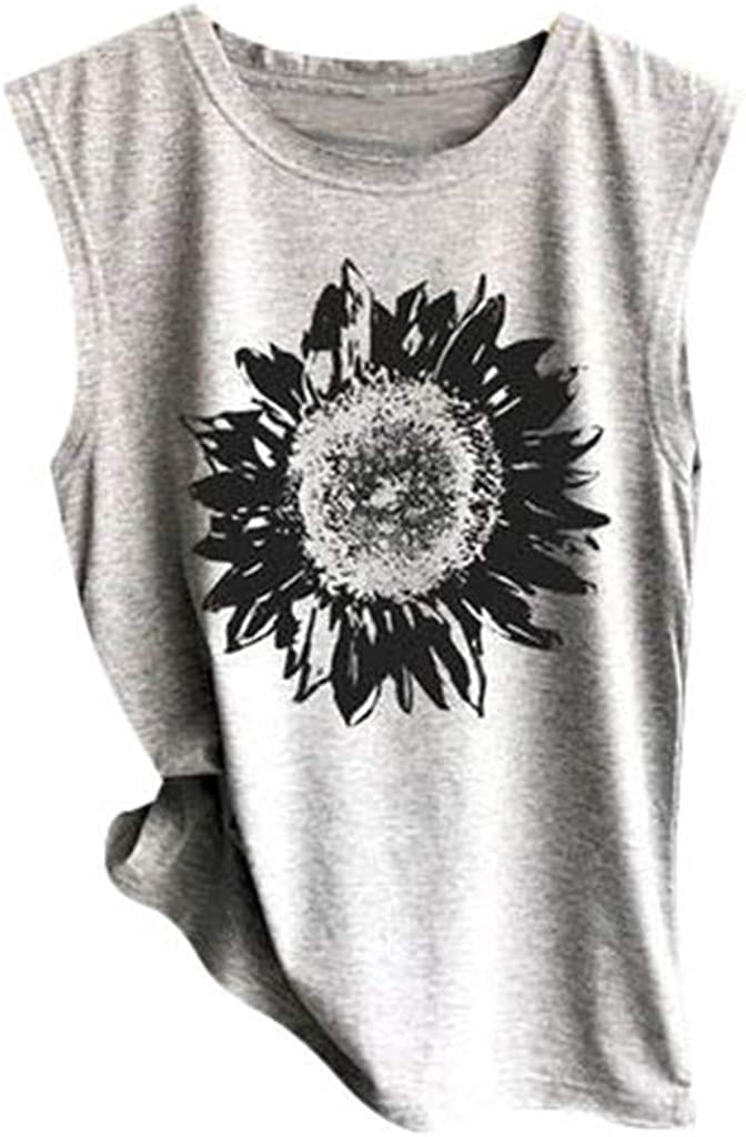 naioewe Women Tank Tops for Women Crop Top Sunflower Print Shirts Sleeveless Workout Blouse Loose Camisoles Tee Tops