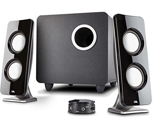 Cyber Acoustics 62W 2.1 Stereo Speaker with Subwoofer - Great for multimedia laptop or PC computers - perfect for Music, Movies, and Gaming (CA-3610),Black (Renewed)