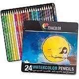 24 Aquarell Buntstifte, Nummeriert, mit Pinsel in Metallbox Aquarellmalerei-Set - 24 wasserlösliche Bunststifte, Einzigartig und Verschieden - Malerei für Erwachsene und Künstler