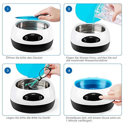 INTEYUltraschallreinigungsgerät 750ml, für Brillen, Schmuck, Uhren, Zahnprothesen, Rasierer, mit Uhrenhalter und Reinigungskorb, Ultraschallreiniger Brillenreiniger