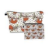 Zfwlkj Maquillaje Bolsa La Nueva Manera 2 PCS Impresión Regalo de la Muchacha Bolsa de Maquillaje Linda combinación Animal Neceser Set (Color : HLZH216)