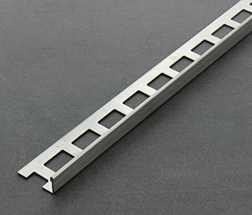 Fliesenschiene, Fliesenprofil, Winkelprofil, Edelstahl (V2A) gebürstet, Länge 2,50 m 10 mm Höhe 5 Stück Setpreis