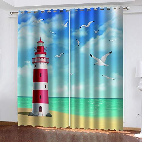 WLHRJ Blickdicht Vorhang gardine Schlafzimmer Wohnzimmer küche kinderzimmer 3D Digitaldruck ösen gardinen - 234x138 cm - Cartoon Küste Leuchtturm