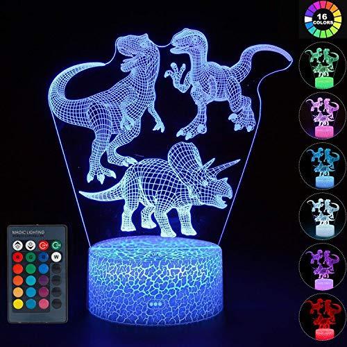 wgde toy Jouet de Dinosaure pour garçon de 2-10 Ans, veilleuse 3D LED pour Enfants, Jouet pour garçon de 3-12 Ans, Cadeau d'anniversaire de Noël pour garçon de 2-8 Ans