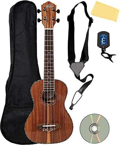 Oscar Schmidt OU5 Koa Concert Ukulele Bundle with Gig Bag, Tuner, Strap, Fender Play Online Lessons, Austin Bazaar Instructional DVD, and Polishing Cloth