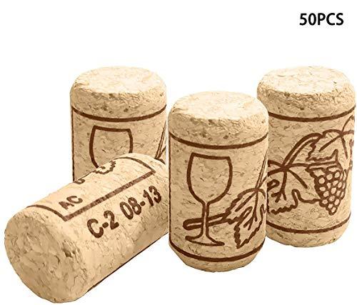 INHEMI 50 Stück Weinkorken zum Basteln, Naturkorken Kork,Ideal zum Basteln und Dekorieren-1.4 x 0.8 in
