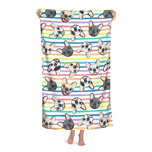 All The Frenchies French Bulldog Dog Breed Frenchie Toss On Multi Stripes Rainbow Soft Highly Absorbent Multipurpose Bath Towel Oversized Towels Beach Towel for Travel Pool Gym Spa, 31'x 51'