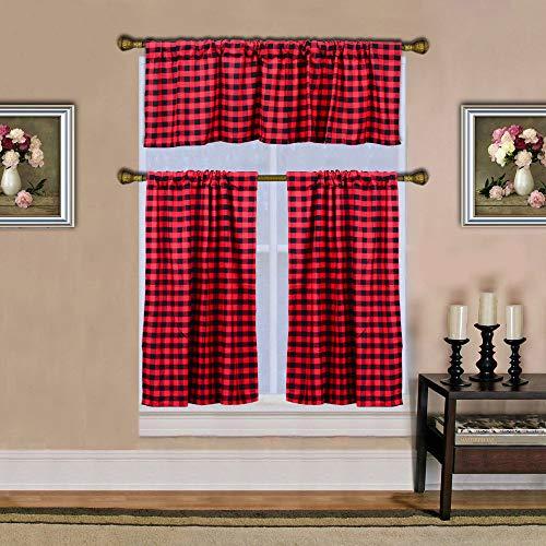 HTFD Curtains for Living Room, Farmhouse Curtains, Kitchen Curtains, Buffalo Plaid Decor, Buffalo Plaid Curtains, Farmhouse Kitchen, Buffalo Check, Black and Red, 3PCS