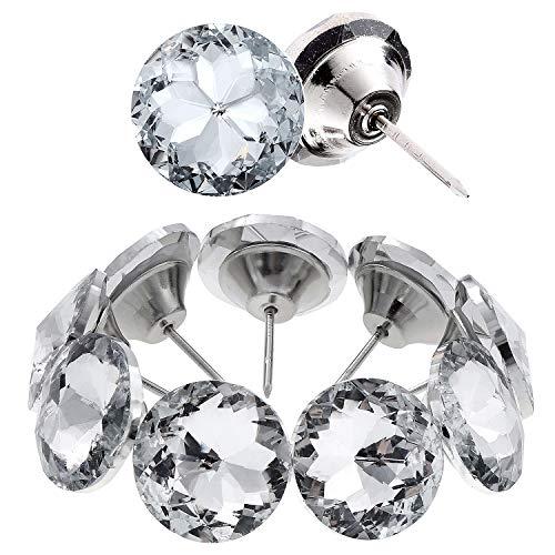 Kyrio Clavos de diamante para coser con cabeza de cristal para tapicería, decoración de sofá, cama, cabecero de pared, manualidades, decoración (25 mm)