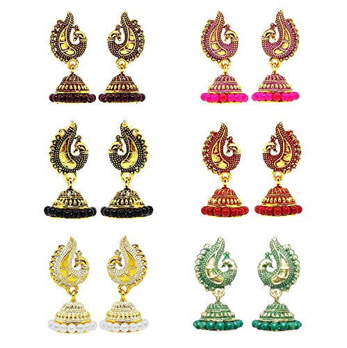 Indian Crafty Vibes Bridemaids Gift Jhumki Small Traditional Jhumka For Girls- Golden- Brass (12 Pairs, Golden (Peacock))