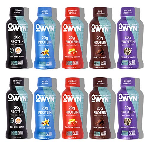 OWYN - 100% Plant-Based Protein Shakes | Dark Chocolate, Cold Brew, Cookies & Creamless, Vanilla, Strawberry Banana, 12 Fl Oz (Pack of 10) | Dairy-Free, Gluten-Free, Soy-Free, Tree Nut-Free, Egg-Free, Allergy-Free, Vegan