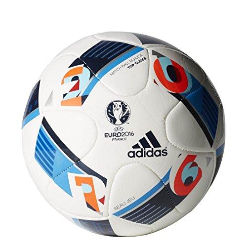 adidas Herren Ball EURO 2016 Top Glider, White/Bright Blue/Night Indigo, 5