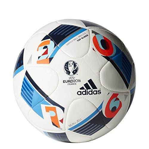 adidas Herren Ball EURO 2016 Top Glider, White/Bright Blue/Night Indigo, 5