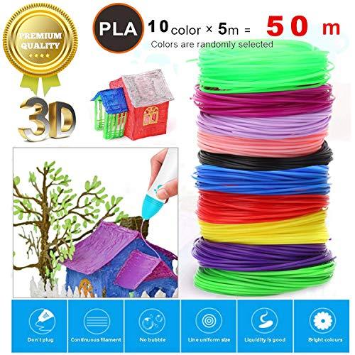 plumas 3d,boligrafo 3d niños,Filamento de Pluma 3D,recargas de PLA,3D Pen refills,Pluma 3D Filamento ABS,3D de Pluma Filamento (10 colores, 5 metros por color)