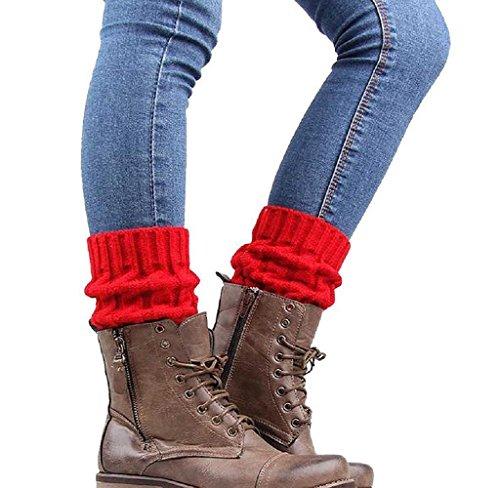 Holacha Calcetines de Piernas Tejidos, Botas Botines Calentadores de Punto Invierno para Mujeres Colores Dobles (rojo)