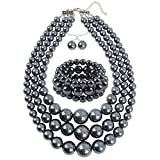 KOSMOS-LI Large Pearl Jewelry Set 3 Layer Simulated Grey Women's Pearl Statement 18' Necklace Bracelet and Earrings