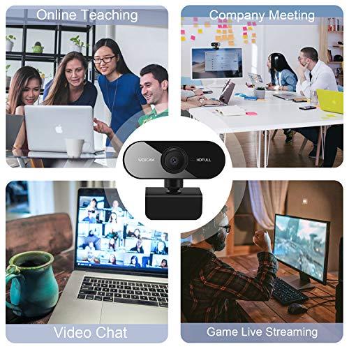 Webcam mit Mikrofon, Chalpr Full HD 1080P Webcam für PC, Laptop, Mac, Plug & Play USB-Webkamera für Live Streaming, Video Chat, Konferenz, Kompatibles mit Windows, Mac, Android