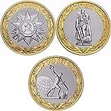 QAZPL Moneda Rusa de 3 Piezas 70 años de la Victoria (Unión Soviética) de la Gran Guerra Patriótica Monedas conmemorativas