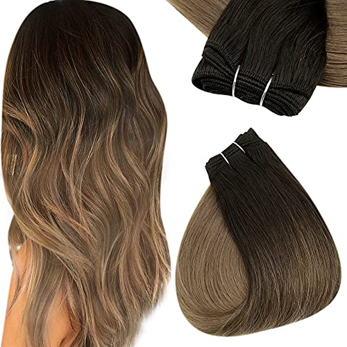 Easyouth Hair Bundles Weave Hair Extensions Remy Human Hair Couleur Brun Foncé Fondu en Reflets Bruns avec Blond Cendré Real Brazilian Sew in Weft Hair 14pouce 70g 35cm