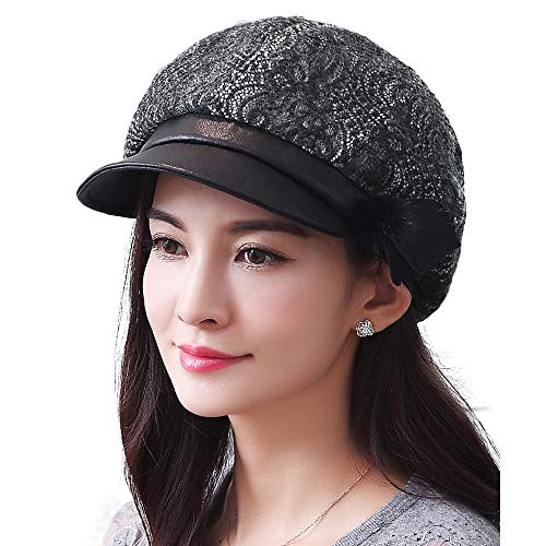 F FADVES Womens Paperboy Cap Merino Wool with Satin Lining Newsboy Hat Octagonal Visor Gatsby Berets Hats Black