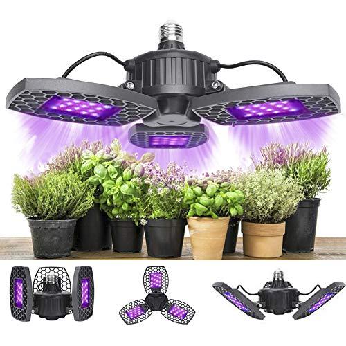 Lampada per Piante, 80W Grow LED Coltivazione Indoor Idroponica, 144 LED Lampade Coltivazione con Pannelli Regolabili per Piante al Coperto Verdure e Fiori Semina Crescita Fioritura e Fruttificazione