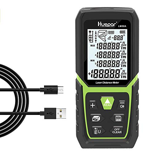 Huepar Laser Distance Measure 165Ft with Li-ion Battery & Electric Angle Sensor, Backlit LCD Laser Measure Ft/In/M with High Accuracy Multi-Measurement Modes, Pythagorean, Distance, Area&Volume-LM50A