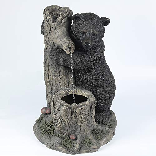 Winsome House Luxen Home Cement Bear and Tree Outdoor Patio Fountain